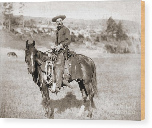 Cowboy Wood Print featuring the photograph A Cowboy On Horseback, Photo, 19th Century by American School