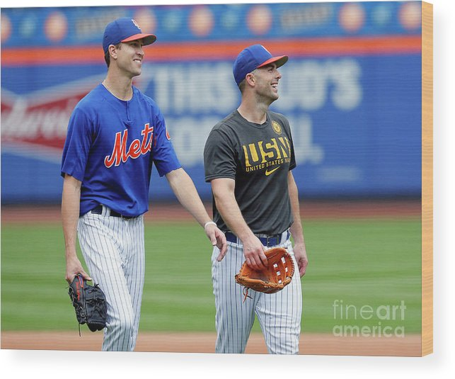 Problems Wood Print featuring the photograph Jacob Degrom And David Wright by Paul Bereswill