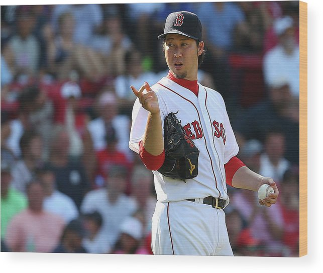 Three Quarter Length Wood Print featuring the photograph Junichi Tazawa by Jim Rogash