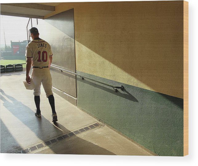 Media Day Wood Print featuring the photograph Chipper Jones by Mike Ehrmann