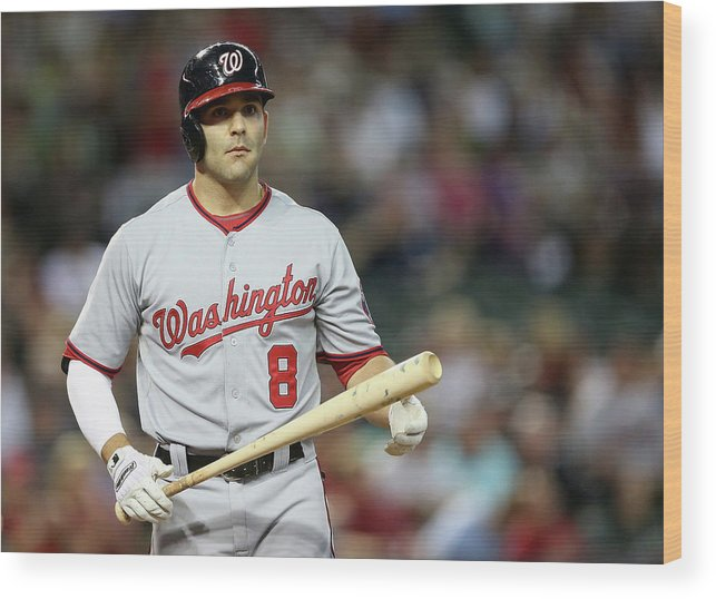 National League Baseball Wood Print featuring the photograph Danny Espinosa by Christian Petersen