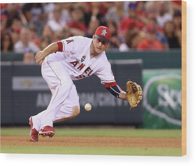 American League Baseball Wood Print featuring the photograph David Freese by Stephen Dunn