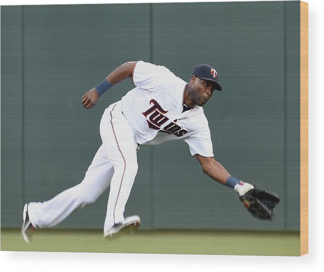People Wood Print featuring the photograph Torii Hunter by Hannah Foslien