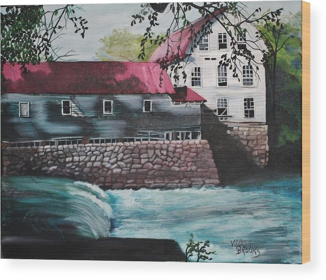 Water Wood Print featuring the painting Falls Of Rough by Vickie Brooks