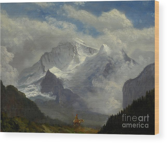 Silhouette Wood Print featuring the painting Above The Timberline by Celestial Images