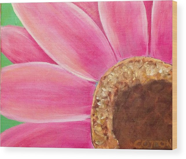 Wood Print featuring the painting Pink Daisy by David Cotton