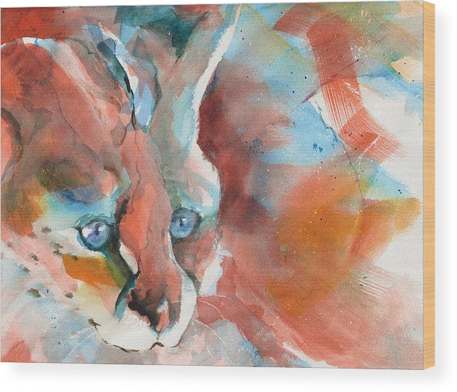 Rescued Wood Print featuring the painting Rescued Serval by Beverly Berwick