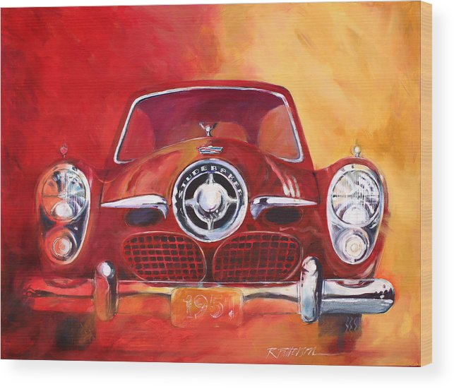 Transportation Wood Print featuring the painting 1951 Studebaker by Ron Patterson