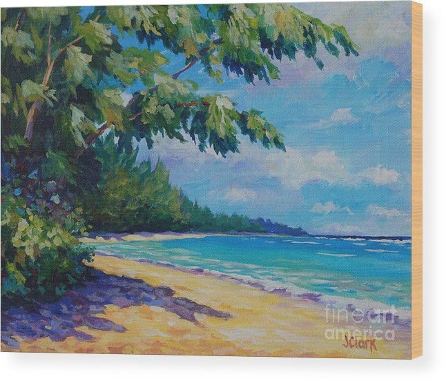 7mb Wood Print featuring the painting 7 Mile Beach by John Clark