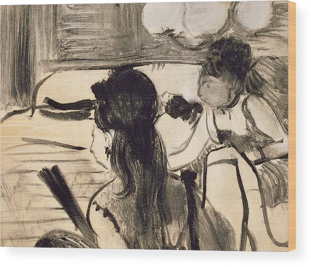 Interior Wood Print featuring the drawing Illustration From La Maison Tellier By Guy De Maupassant by Edgar Degas