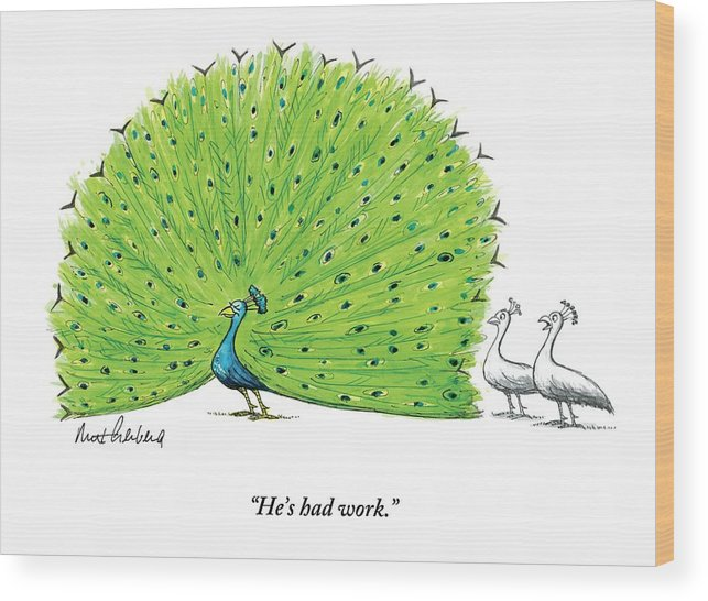 Birds Wood Print featuring the drawing A Large Peacock With Its Feathers Out Is Admired by Mort Gerberg