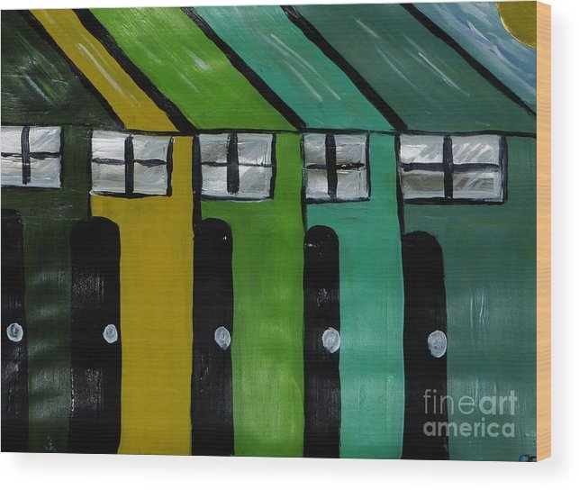 Abstract Wood Print featuring the painting All In A Row by Marie Bulger