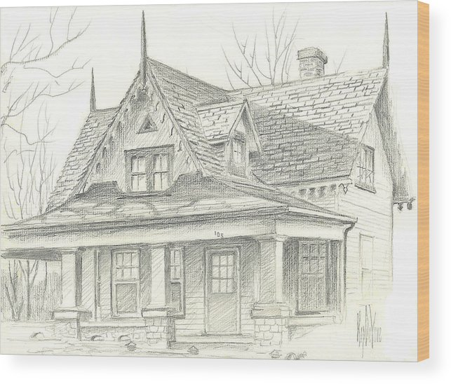 American Home Wood Print featuring the drawing American Home by Kip DeVore