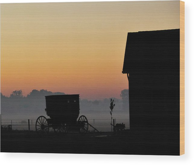 Amish Buggy Wood Print featuring the photograph Amish Buggy Before Dawn by David Arment