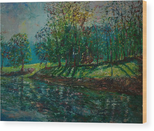 Oil Wood Print featuring the painting At Carondelet Park by Horacio Prada