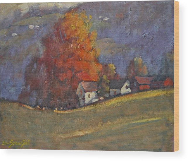 Field With Cows Wood Print featuring the painting Autumn On Airyhill by Len Stomski
