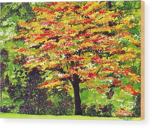 Fine Art Wood Print featuring the painting Autumn Splendor by Patricia Griffin Brett