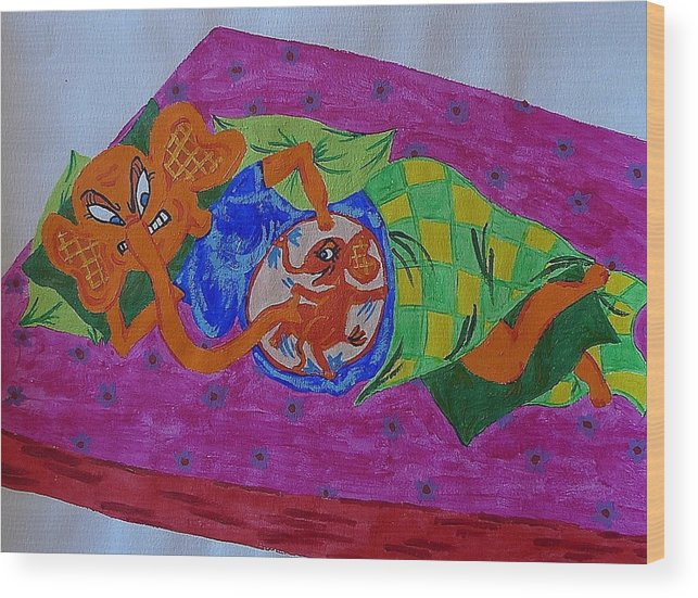Elephant Wood Print featuring the painting Baby's Kicking by Paks Cahill