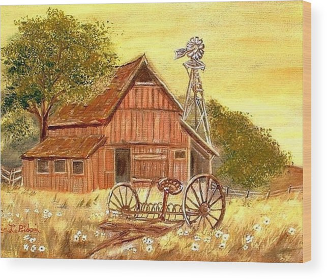 Barn Old Rake Windmill Wood Print featuring the painting Barn - Windmill - Old Rake by Kenneth LePoidevin