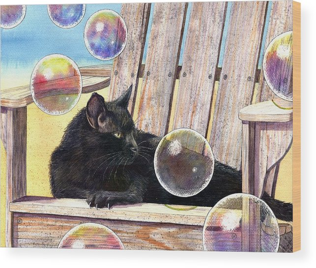 Cat Wood Print featuring the painting Basking In Bubbles by Catherine G McElroy