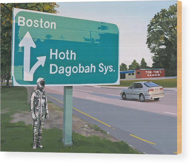 Astronaut Wood Print featuring the painting Bear Right For Hoth by Scott Listfield