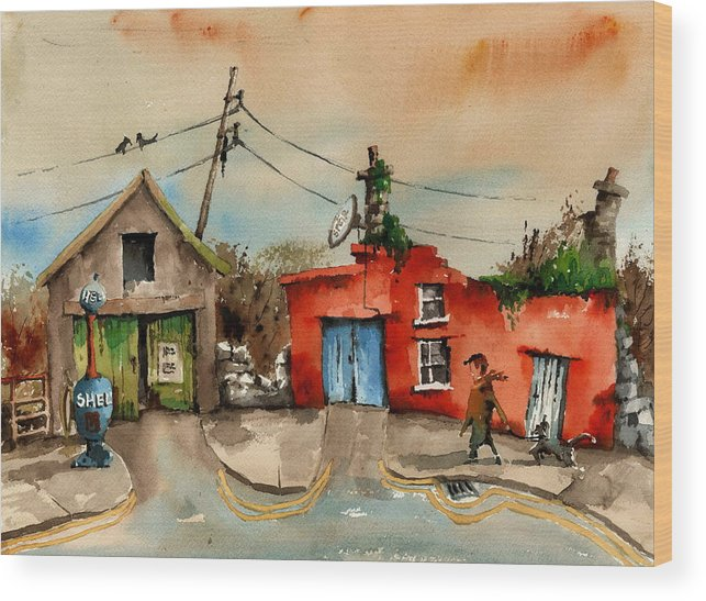 Val Byrne Wood Print featuring the painting Before Unleaded In 95 by Val Byrne