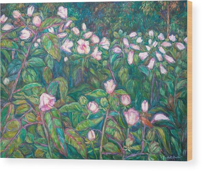 Radford City Wildflower Paintings Wood Print featuring the painting Bisset Park Hibiscus by Kendall Kessler