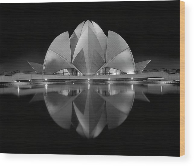 Architecture Wood Print featuring the photograph Black Contrast by Nimit Nigam