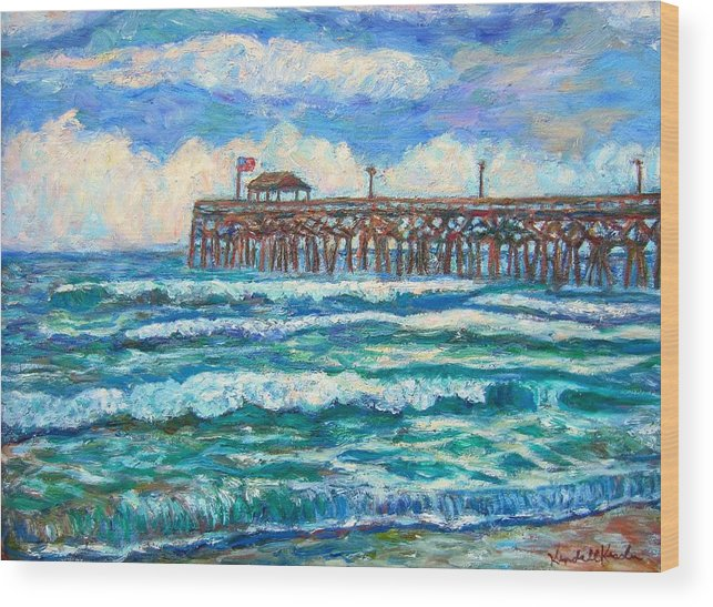 Shore Scenes Wood Print featuring the painting Breakers At Pawleys Island by Kendall Kessler