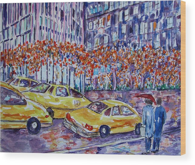 Cityscape Wood Print featuring the painting Cabs New York by Lucille Femine