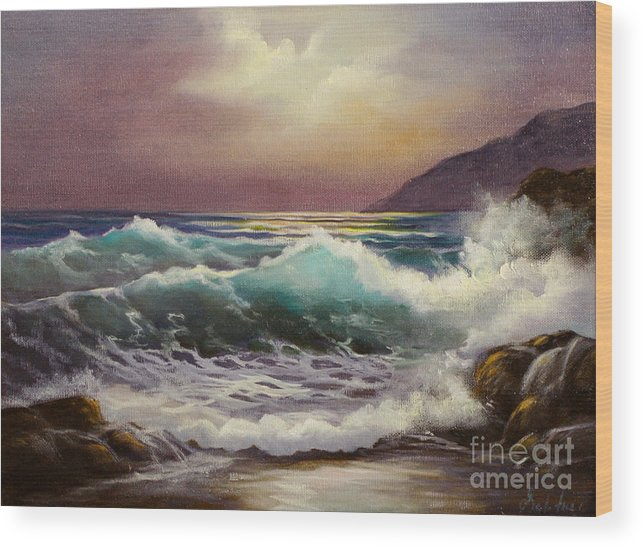 Seascape Wood Print featuring the painting Carmel Sea Sunset Sold by Gail Salitui
