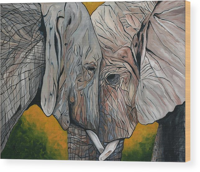 Elephant Wood Print featuring the painting Comfort by Aimee Vance