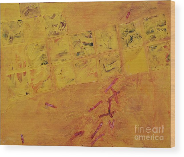 Abstract Wood Print featuring the painting Cruciform In Yellow Recycled by Heidi E Nelson
