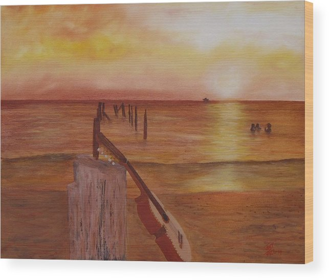 Seascape Wood Print featuring the painting Cuatro Sunset by Tony Rodriguez