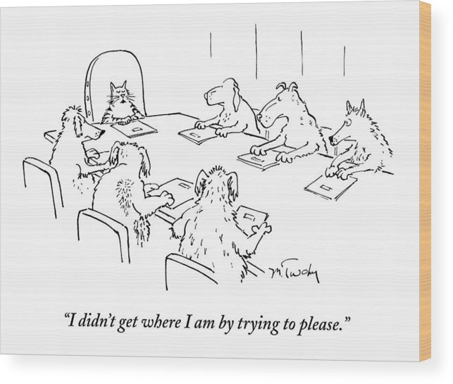 Caption Contest Tk Wood Print featuring the drawing Dogs At A Meeting by Mike Twohy