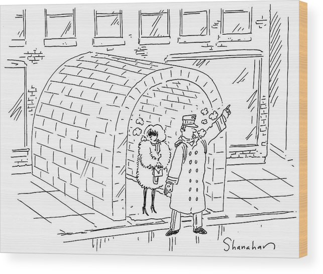 Cartoon Wood Print featuring the drawing Doorman Hailing Taxi For Woman Outside Igloo by Danny Shanahan