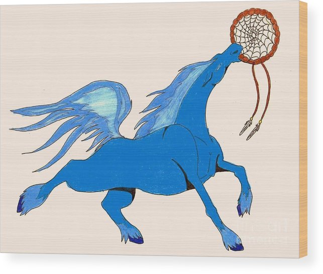 Horse Wood Print featuring the drawing Dreamcatcher by Wendy Coulson