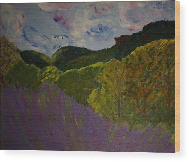 Landscape Wood Print featuring the painting Dundas Peak by Rashne Baetz