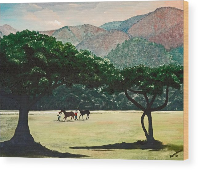 Trees Wood Print featuring the painting Early Morning Savannah by Karin Dawn Kelshall- Best