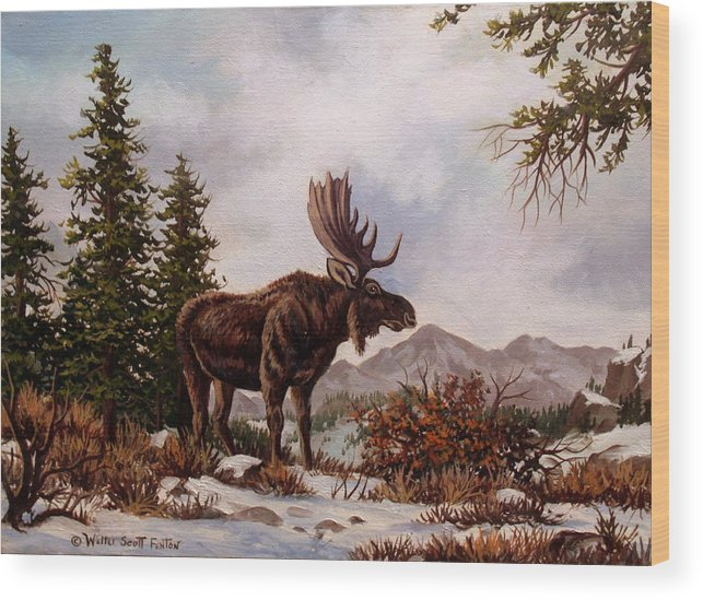 Mountains Wood Print featuring the painting Easy Now by W Scott Fenton