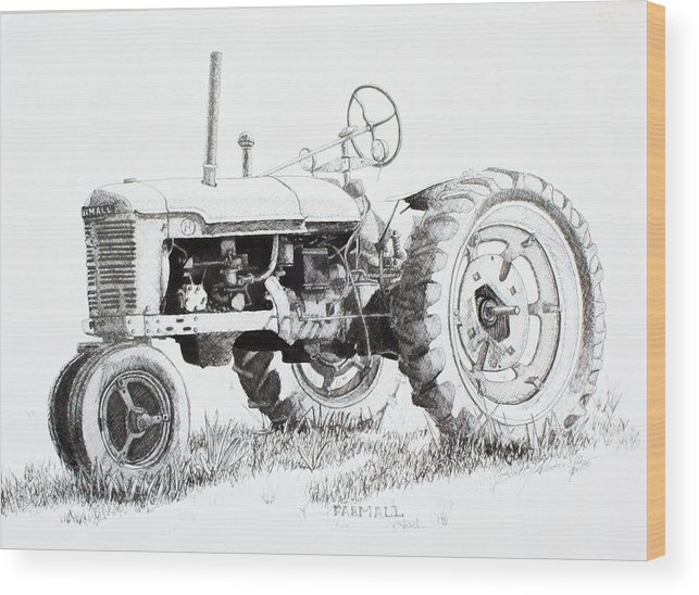 Tractor Wood Print featuring the drawing Farmall by Scott Alcorn