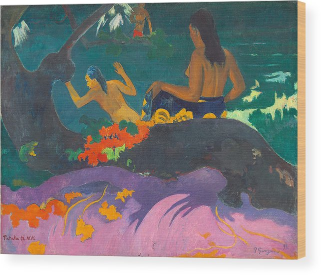 Paul Gauguin Wood Print featuring the painting Fatata Te Miti.by The Sea by Paul Gauguin