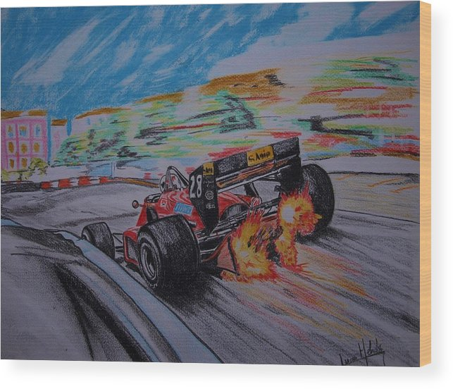 Ferrari Wood Print featuring the painting Flames by Juan Mendez