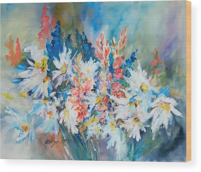 Floral Wood Print featuring the painting fresh Flowers by Kathryn Kaye