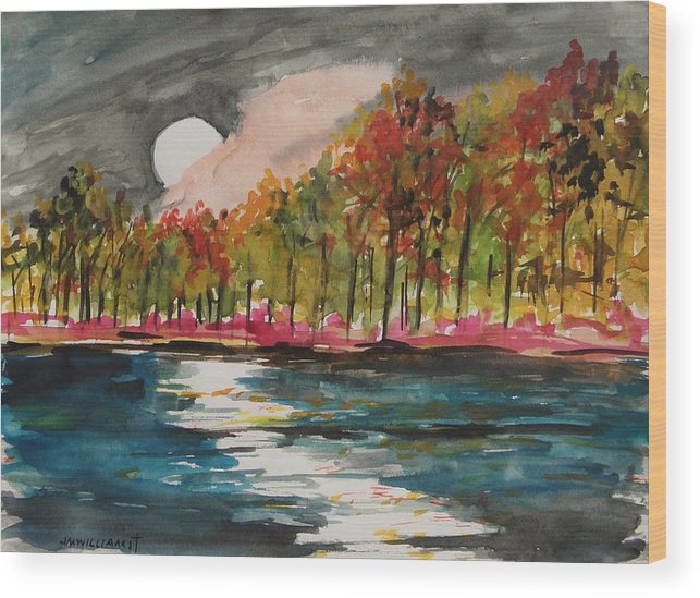 Full Moon Wood Print featuring the painting From Behind A Pink Cloud by John Williams