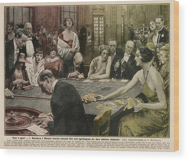 Monte Wood Print featuring the drawing Gamblers At The Tables - A Winner by Mary Evans Picture Library