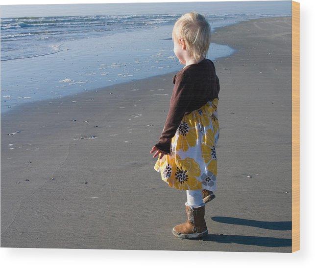 Beach Wood Print featuring the photograph Girl On Beach by Greg Graham