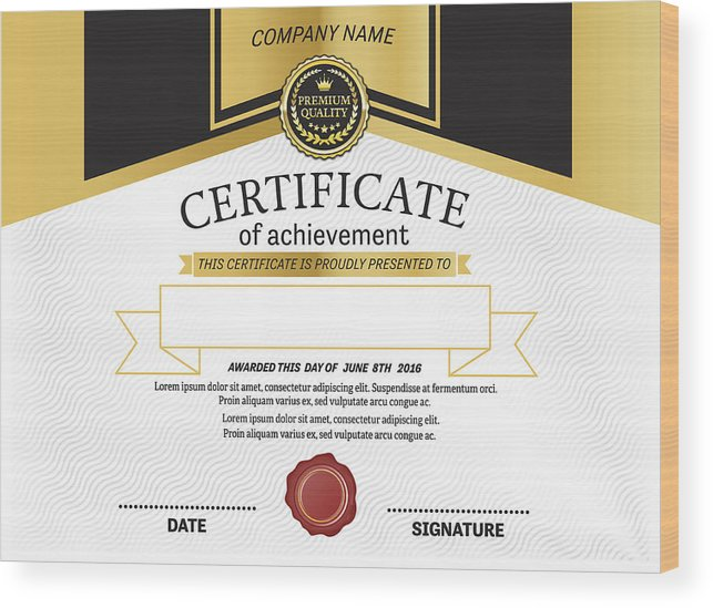 Gold Medal Background Certificate Diploma Template Vector Illustration Wood  Print