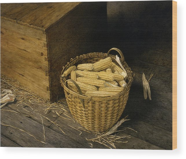 Still Life Wood Print featuring the painting Golden Harvest by Tom Wooldridge