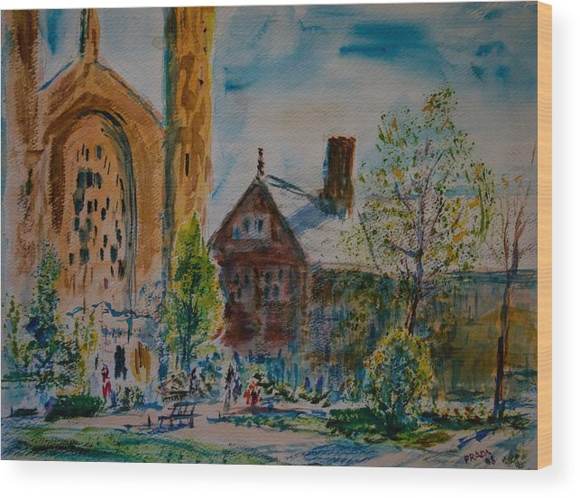 Watercolor Wood Print featuring the painting Graham Chapel Morning Effect by Horacio Prada